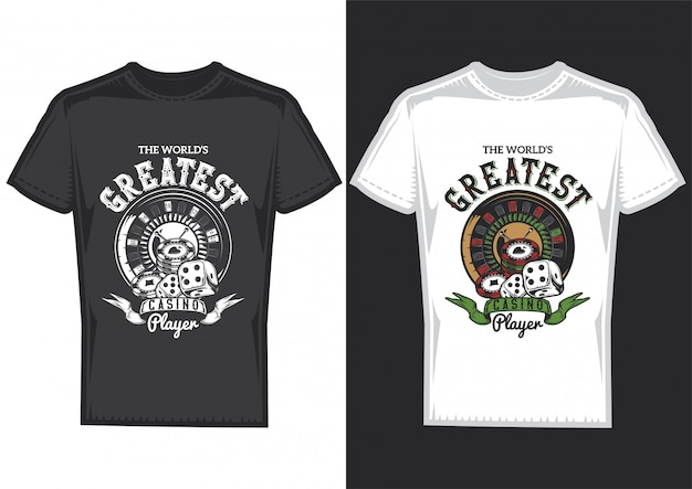 Дизайн футболки на 2-х футболках с постерами элементов казино: карты, фишки и рулетка.