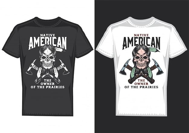 ネイティブアメリカンのポスターが貼られた2枚のtシャツのtシャツデザイン。