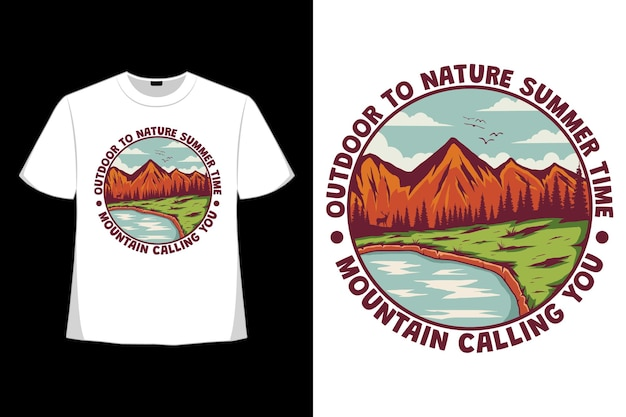 T-shirt design of outdoor nature summer time mountain calling hand drawn in retro style