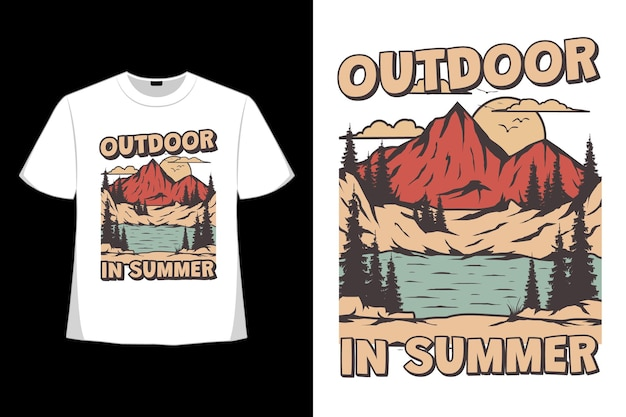 T-shirt design of outdoor summer mountain hand drawn in retro style