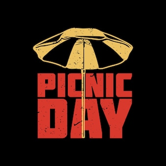 День пикника дизайн футболки с зонтиком и черным фоном старинные иллюстрации