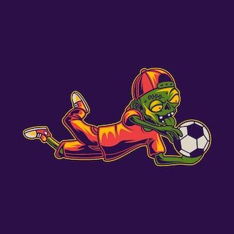 공 좀비 일러스트를 잡아서 공놀이하는 티셔츠 디자인