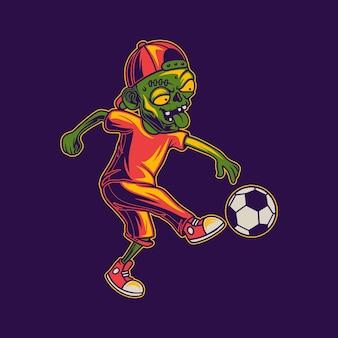 Tシャツデザインプレイボール蹴り位置ゾンビイラスト