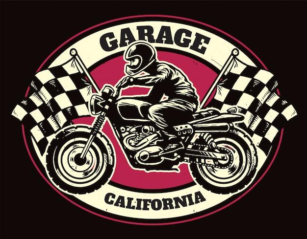 T-shirt design of racing garage badge