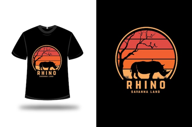 티셔츠 디자인. 코뿔소 사바나 땅 오렌지색과 노란색