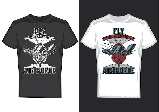 T-shirt design samples with illustration of air forces