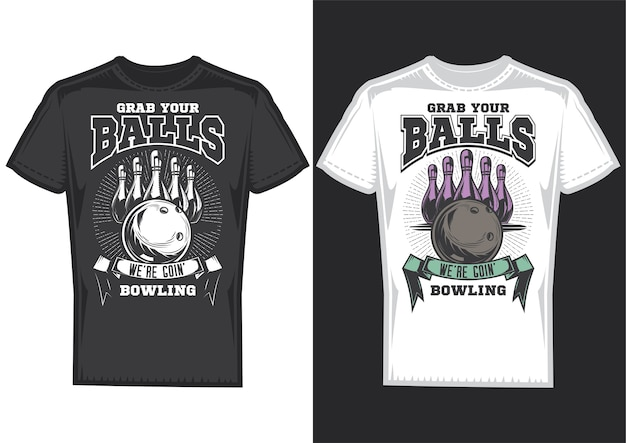 T-shirt design samples with illustration of bowling design.