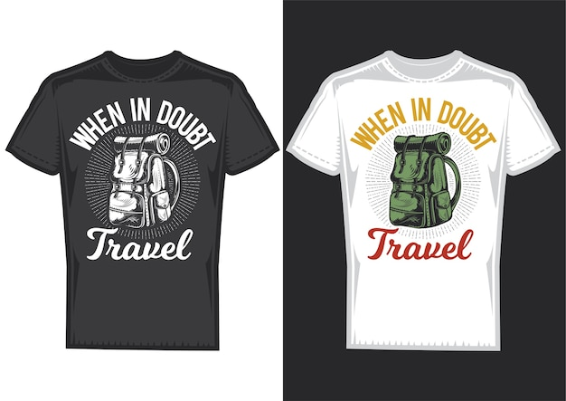 T-shirt design samples with illustration of a camping backpack.