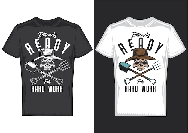 T-shirt design samples with illustration of a farmer with a shovel.