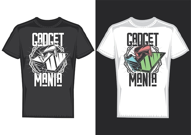T-shirt design samples with illustration of gadgets.