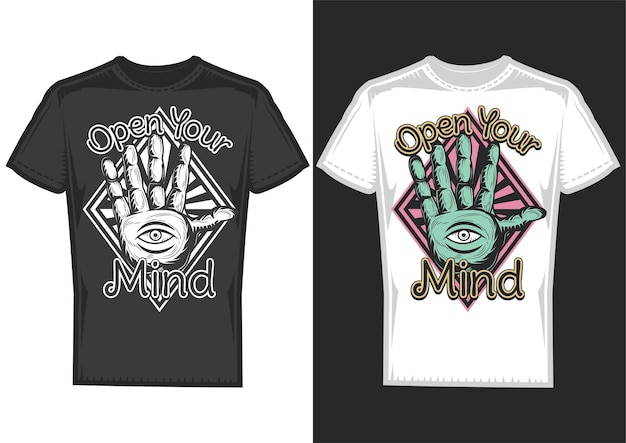T-shirt design samples with illustration of guessing on arm design.