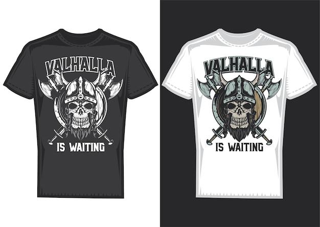 Образцы дизайна футболки с изображением черепа викинга со шлемом и топорами.