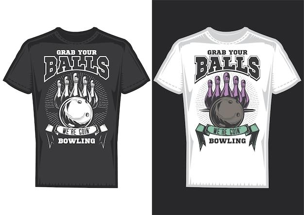 Образцы дизайна футболки с иллюстрацией дизайна боулинга.