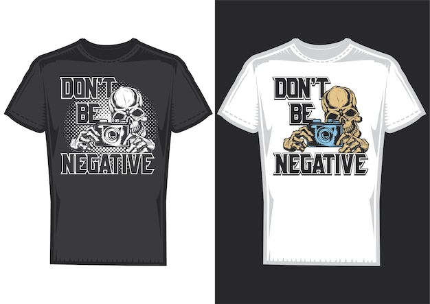 T-shirt design samples with illustration of a photographer skull with camera.