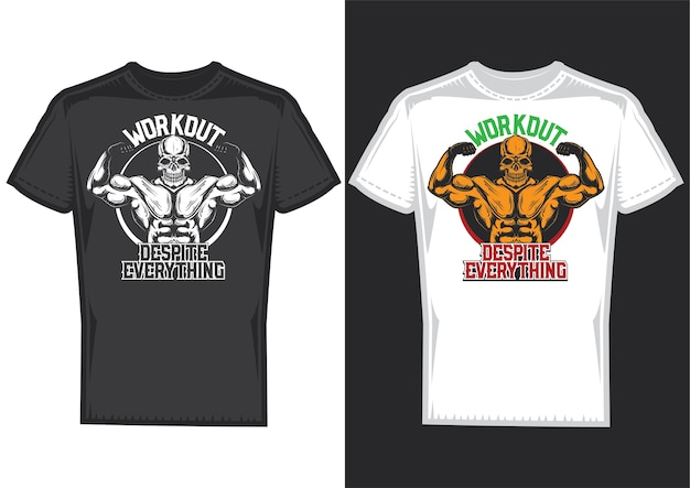 T-shirt design samples with illustration of a skull with big muscles.