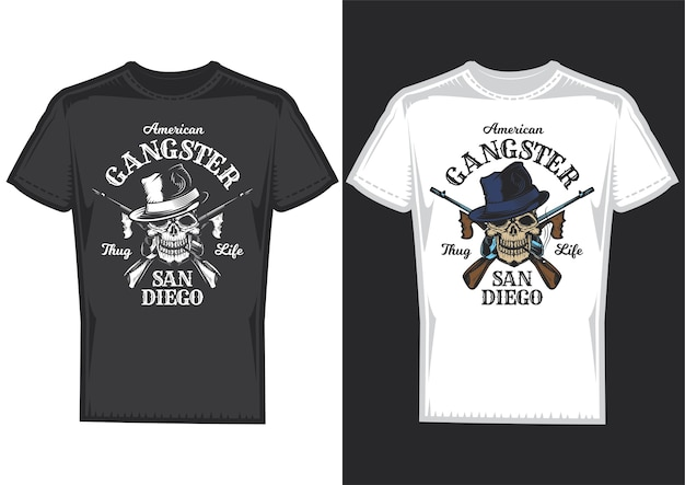 T-shirt design samples with illustration of a skull with guns.