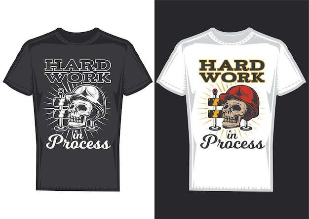 T-shirt design samples with illustration of a skull with hardhat.