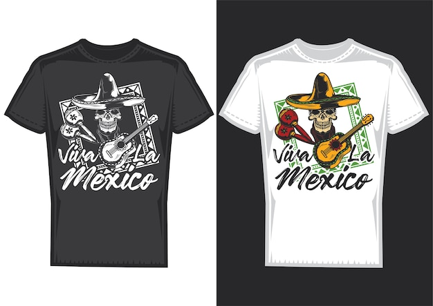 T-shirt design samples with illustration of a skull with mexican hat and a guitar.