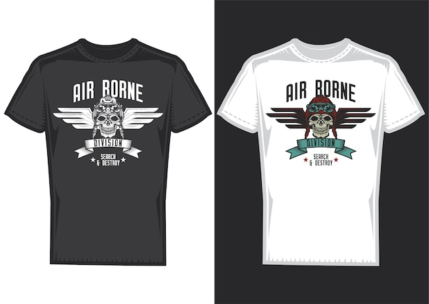 T-shirt design samples with illustration of skull with wings design.