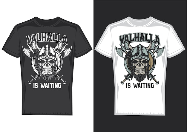 T-shirt design samples with illustration of a viking's skull with helmet and axes.