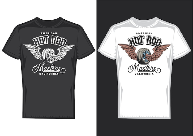 T-shirt design samples with illustration of wheel with wings.