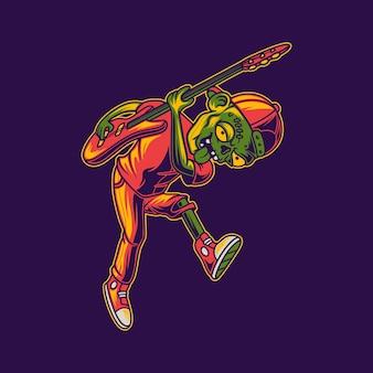 아래로 보이는 위치 일러스트와 함께 기타를 연주하는 좀비의 티셔츠 디자인 측면 보기