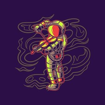 バイオリンのイラストを演奏する宇宙飛行士のtシャツデザイン側面図