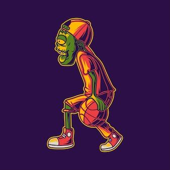 드리블 위치 그림에서 농구를 하는 좀비의 티셔츠 디자인 측면 보기