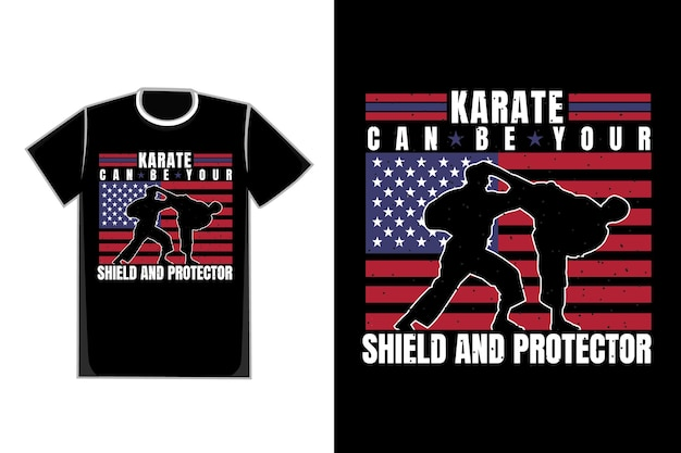 T-shirt design of silhouette karate flag american vintage style