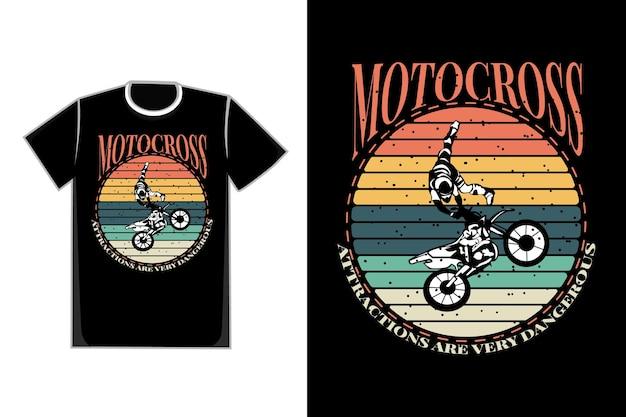 T-shirt design of silhouette motocross attraction retro vintage