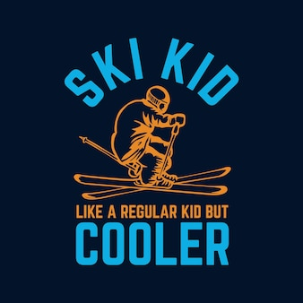 通常の子供のようですが、スキーヤーと紺色の背景のヴィンテージイラストで涼しいtシャツのデザインスキーの子供