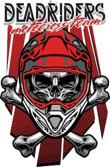 T-shirt design skull morocross rider with crossed bones