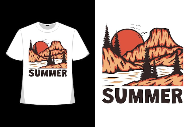 T-shirt design of summer mountain jungle hand drawn in retro style