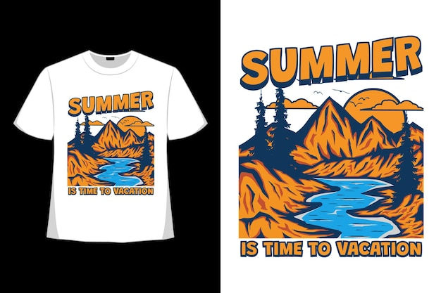 T-shirt design of summer time vacation mountain hand drawn in retro style