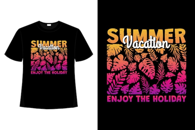 T-shirt design of summer vacation enjoy holiday leaf gradient sunset in retro style