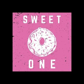 Дизайн футболки сладкий с пончиком и черным фоном старинные иллюстрации
