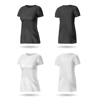 女性のためのtシャツのデザインテンプレート。黒と白