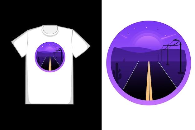 밤의 거리는 보라색 티셔츠 디자인