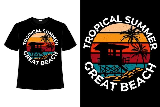 T-shirt design of tropical summer great beach hand drawn style retro vintage illustration