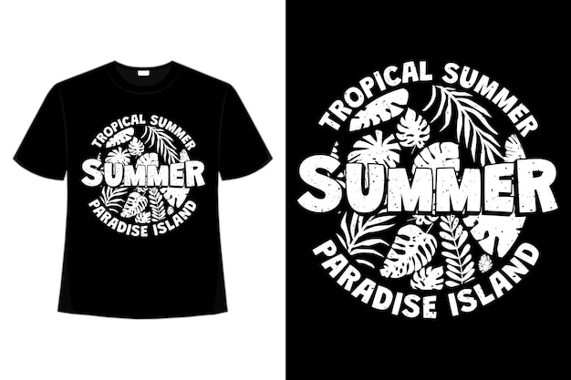 T-shirt design of tropical summer paradise island leaf in retro style