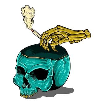 T shirt design unique skull and cigar smoke