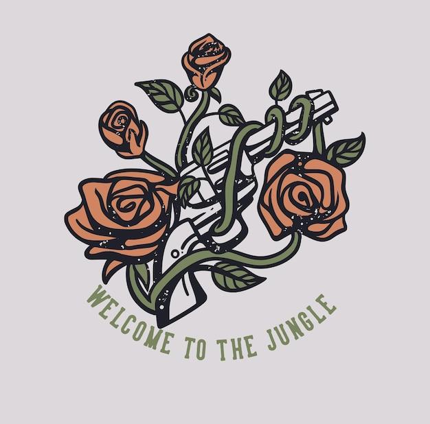 バラで包まれた銃と白い背景のヴィンテージイラストでジャングルへようこそtシャツのデザイン