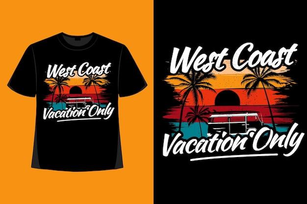 T-shirt design of west coast vacation palm tree brush retro vintage illustration