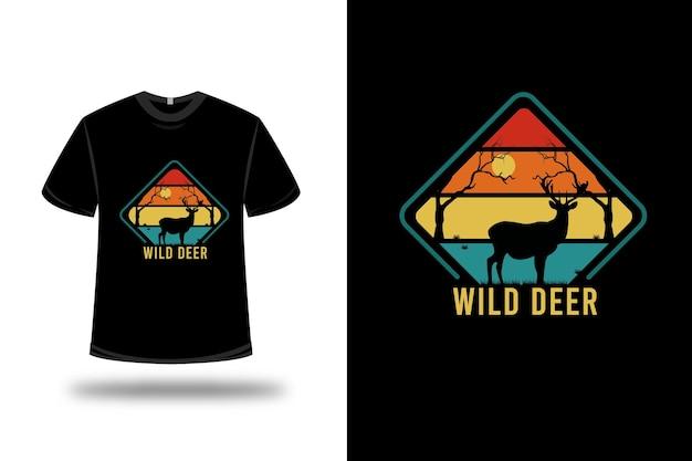 티셔츠 디자인. 주황색 노란색과 녹색의 야생 사슴