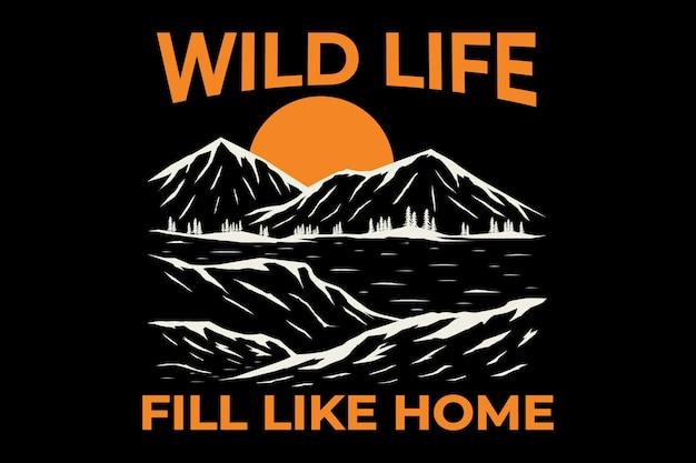 T-shirt design of wild life mountain lake hand drawn vintage illustration