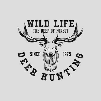 Tシャツデザイン野生生物1975年以来の森のディーハンティングの深さ