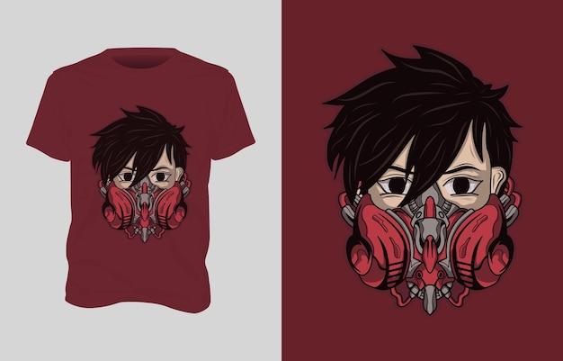 로봇 마스크를 착용 한 남자의 일러스트와 함께 티셔츠 디자인