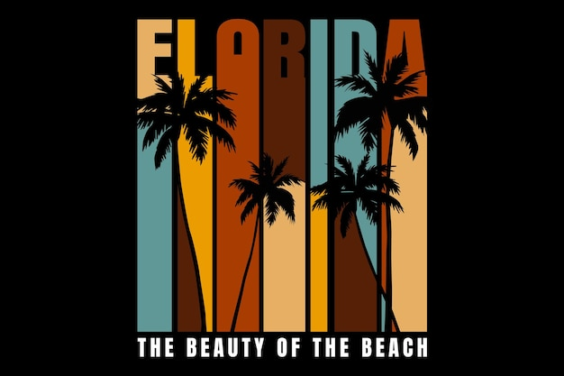 T-shirt design with beach florida beautiful in retro style