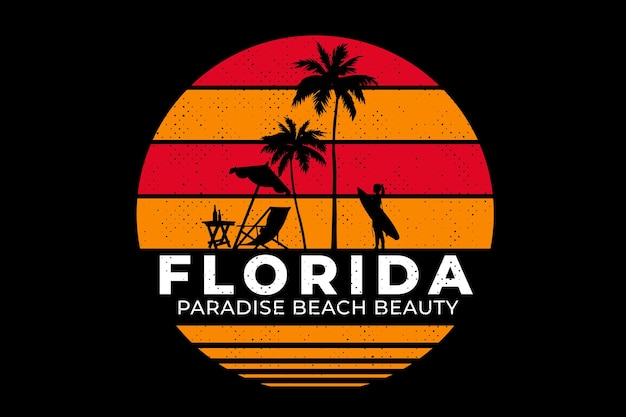 T-shirt design with beach florida paradise beautiful in retro style