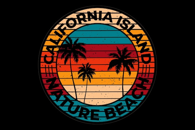 T-shirt design with beach nature california island in retro vintage